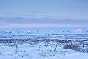 Views of snow-covered glacier mountains in stunning glacial landscape in South Iceland