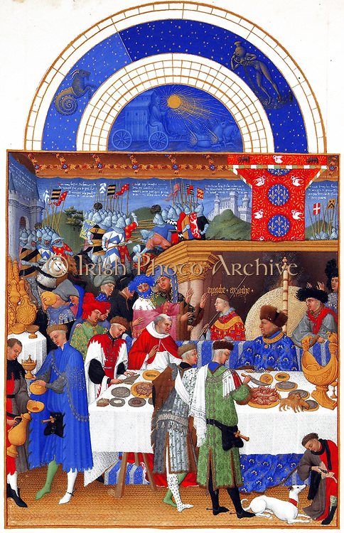 'The Très Riches Heures du Duc de Berry Is a French Gothic illuminated manuscript. The Très Riches Heures is a prayer book created for John, Duke of Berry, by the Limbourg brothers between 1412 and 1416. The book was completed by Jean Colombe between 1485 and 1489. The manuscript is held at the Musée Condé, Chantilly, France. this folio (January)shows The Duke of Berry, sitting at court. The tapestry of the back of the room seems to represent episodes from the Trojan War'