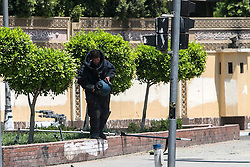 A bomb disposal expert examines near the presidential palace in Cairo, Egypt, June 30, 2014. Two police officers were killed and several other security personnel were wounded in two blasts near the presidential palace in Cairo. No group has yet claimed responsibility for the attacks. EXPA Pictures © 2014, PhotoCredit: EXPA/ Photoshot/ Cui Xinyu<br /> <br /> *****ATTENTION - for AUT, SLO, CRO, SRB, BIH, MAZ only*****