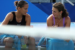 Ekaterina Bychkova of Russia and Vesna Manasieva of Russia in Doubles at 3rd Round of Banka Koper Slovenia Open 2008, on July 23, 2008, Portoroz - Portorose, Slovenia. (Photo by Vid Ponikvar / Sportal Images)...