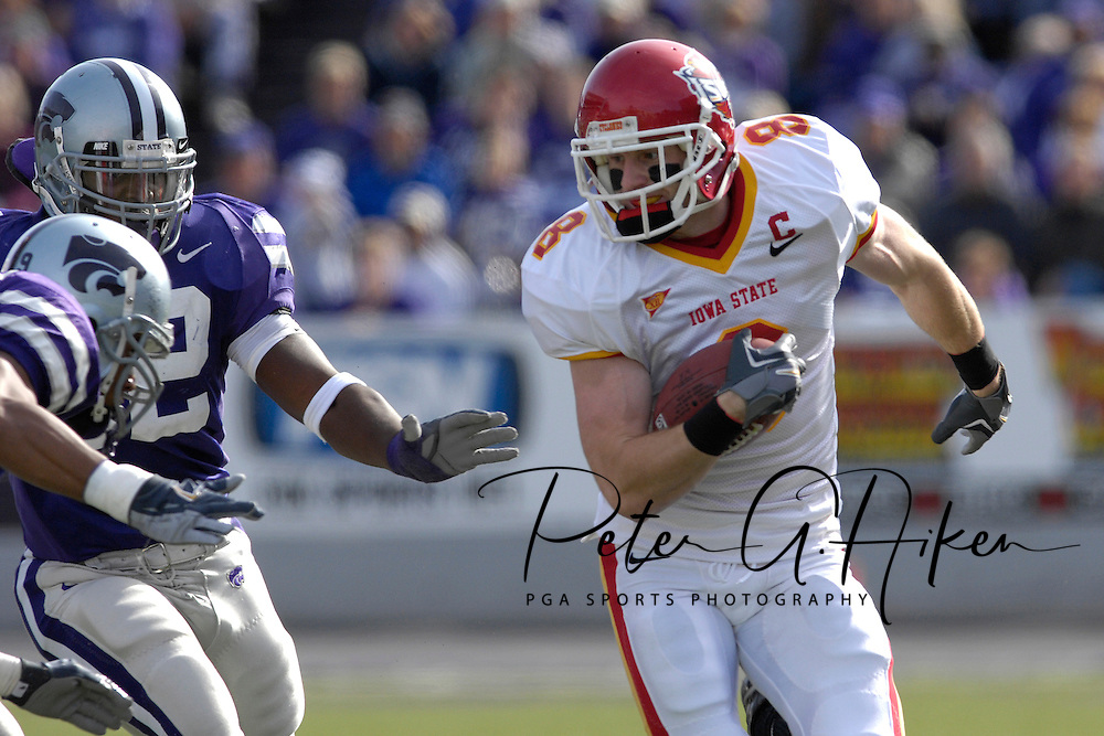 Iowa State wide receiver Austin Flynn (8) rushes up field for a first down against Kansas State in the first half at Bill Snyder Family Stadium in Manhattan, Kansas, October 28, 2006.  The Wildcats beat the Cyclones 31-10.<br />