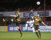 Christian Nade gets a header on target - Dundee v Alloa Athletic, SPFL Championship at Dens Park<br /> <br />  - &copy; David Young - www.davidyoungphoto.co.uk - email: davidyoungphoto@gmail.com