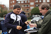 AFC Wimbledon defender Darius Charles (32) arriving and signing autographs during the EFL Sky Bet League 1 match between AFC Wimbledon and Southend United at the Cherry Red Records Stadium, Kingston, England on 1 January 2018. Photo by Matthew Redman.