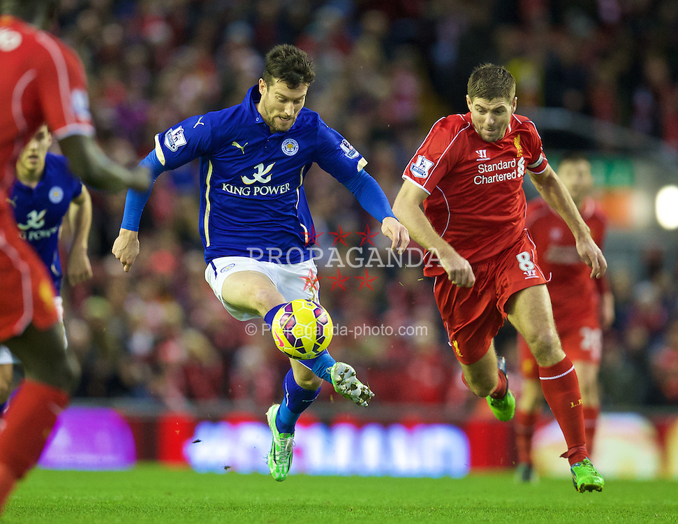 LIVERPOOL, ENGLAND - Thursday, New Year's Day, January 1, 2015: Liverpool's captain Steven Gerrard and fellow Scouser Leicester City's David Nugent during the Premier League match at Anfield. (Pic by David Rawcliffe/Propaganda)