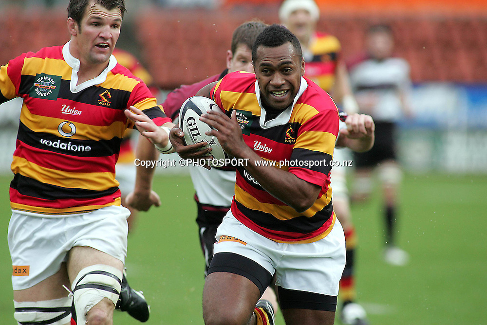 Waikato's sitiveni Sivivatu on his way to scoring during the Air NZ Cup rugby match between Waikato and North Harbour played at Waikato Stadium, Hamilton, New Zealand on Sunday 1 October  2006.       Photo: Brett O'Callaghan/PHOTOSPORT