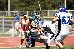 15 September 2007:  Nick Yahl hits Neal Loftus at the goal line on a 2 point conversion. The Titans stood toe to toe with the 25th ranked Lions through the first half but ended the game on the losing end of a 25-15 score at Wilder Field on the campus of Illinois Wesleyan University in Bloomington Illinois.