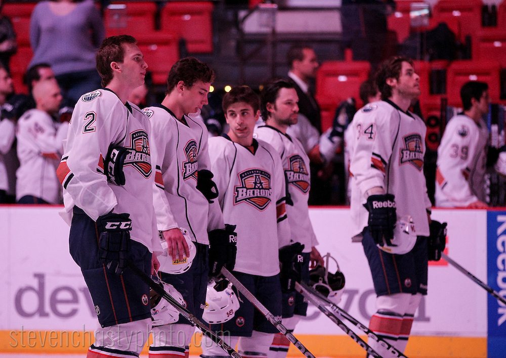April 3, 2012: The Oklahoma City Barons play the Hamilton Bulldogs in an American Hockey League game at the Cox Convention Center in Oklahoma City.