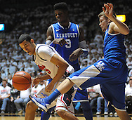 """Mississippi's Anthony Perez (13), Kentucky's Nerlens Noel (3), and Kentucky's Jarrod Polson (5) battle for the ball at the C.M. """"Tad"""" Smith Coliseum on Tuesday, January 29, 2013.  (AP Photo/Oxford Eagle, Bruce Newman).."""