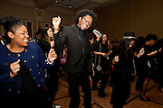 """Pop Peterson, center, dances in """"line dance"""" at the All Black Affair at the Baker University Center Ballroom at Ohio University on Friday, January 29, 2016. © Ohio University / Photo by Sonja Y. Foster"""