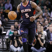 10 May 2012: Atlanta Hawks power forward Josh Smith (5) brings the ball upcourt during the Boston Celtics 83-80 victory over the Atlanta Hawks, in Game 6 of the Eastern Conference first-round playoff series, at the TD Banknorth Garden, Boston, Massachusetts, USA.