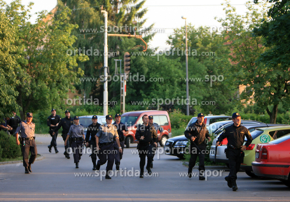 Police after final match of 2nd SNL league between NK Olimpija in NK Aluminij, on May 23, 2009, ZAK, Ljubljana, Slovenia. Aluminij won 2:1. NK Olimpija is a Champion of 2nd SNL and thus qualified to 1st Slovenian football league for season 2009/2010. (Photo by Vid Ponikvar / Sportida)