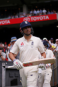 Alistair Cook walks onto bat during day three of the Australia v England fourth test at the Melbourne Cricket Ground, Melbourne, Australia on 28 December 2017. Photo by Mark  Witte.