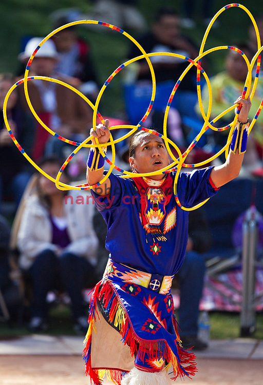 Tony Duncan, Mesa, AZ, performs in the second round of Adult competition at the 21st Annual Heard Museum World Hoop Dance Championship on February 6, 2011.  Duncan went on to win the Adult division championship.