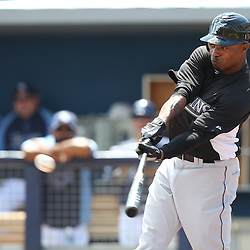 March 15, 2011; Port Charlotte, FL, USA; Florida Marlins center fielder Dewayne Wise (10) connects on a solo homerun in the first inning during a spring training exhibition game against the Tampa Bay Rays at Charlotte Sports Park.   Mandatory Credit: Derick E. Hingle