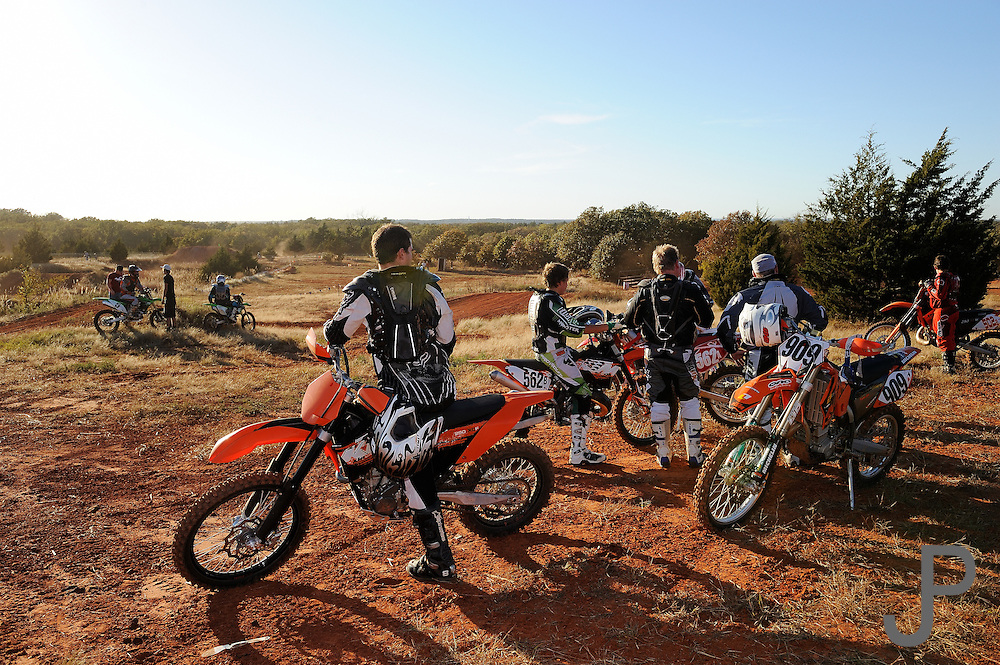 Off-road motorcycle racing in Oklahoma.