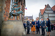 King Willem-Alexander and Queen Maxima of The Netherlands pose at the populair fairy tale statue Town Musicians of Bremen, Germany, 6 March 2019. The Dutch King and Queen are in Bremen for a one day visit as part of their visits to all German states.  COPYRIGHT ROBIN UTRECHT