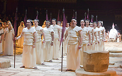 © Licensed to London News Pictures. 22/02/2012. London, England. New production of Giuseppe Verdi's opera Aida staged in the round of the Royal Albert Hall with Indra Thomas as Aida, Mark Heller as Radames, Tiziana Carraro as Amneris, David Kempster as Amonasro and Stanislav Shvets as Ramfis. Photo credit: Bettina Strenske/LNP