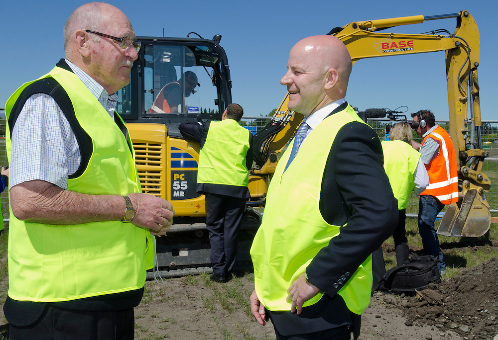 Rebuild resident Cliff Mitton, left,  on his section with National Party candidate for Christchurch East  Matthew Doocey on a visit to Prestons residential development in Marshlands, Christchurch, New Zealand, Thursday, October 31, 2013. Credit: SNPA /  David Alexander.