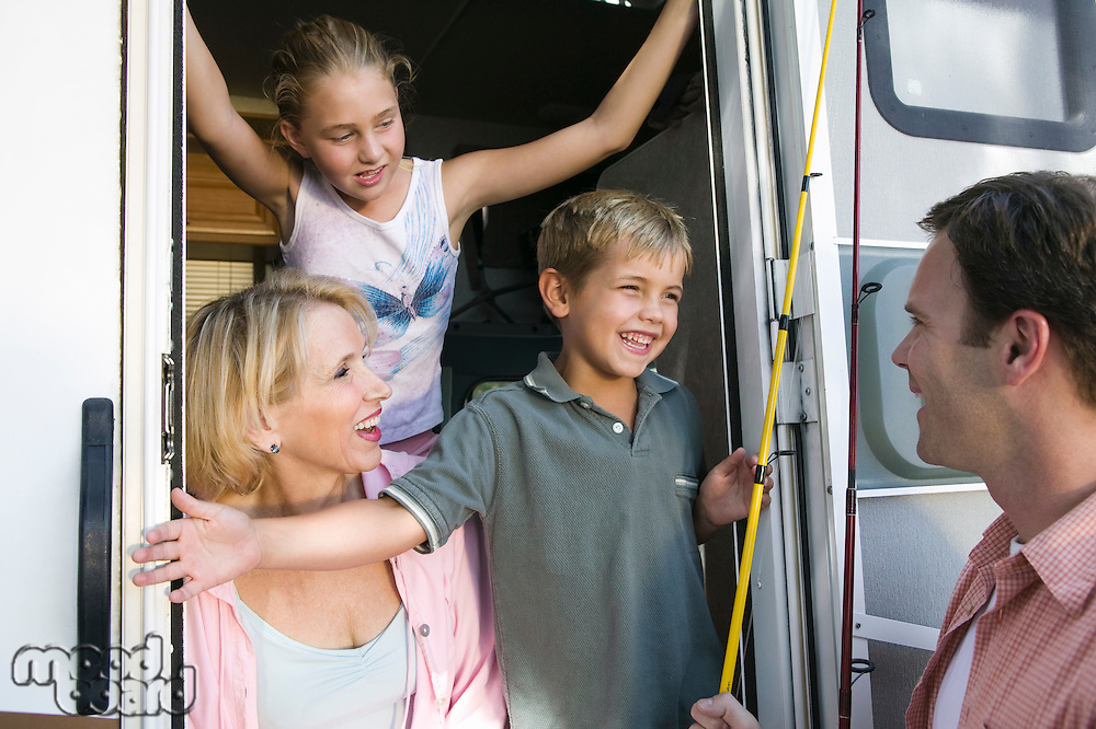 Family in camper van