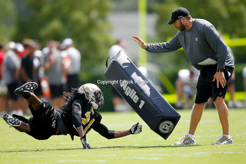 July 29, 2011; Metairie, LA, USA; New Orleans Saints cornerback Patrick Robinson (21) during the first day of training camp at the New Orleans Saints practice facility. Mandatory Credit: Derick E. Hingle