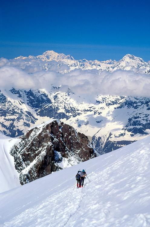 Hiking up the Breithorn on the Haute Route, near Zermatt, Switzerland