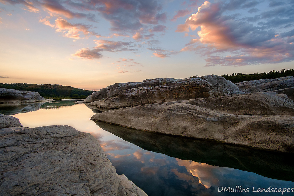 Reflections in the still waters at Pedernales Falls State Park.<br />