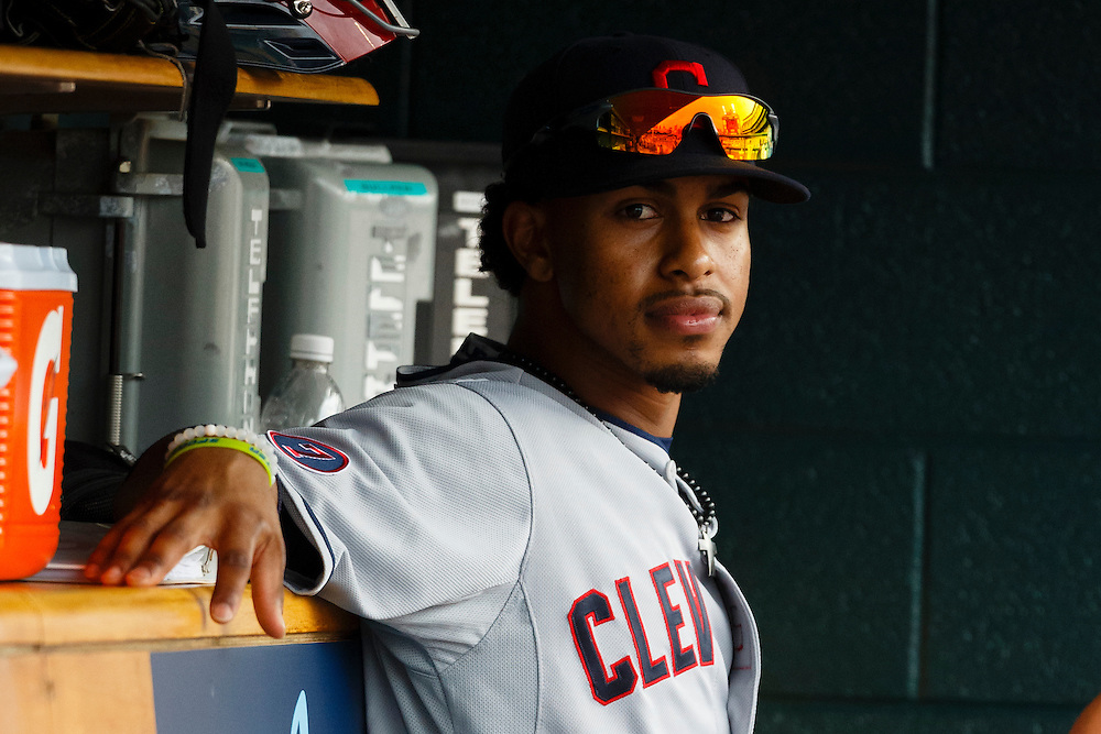 Jun 14, 2015; Detroit, MI, USA; Cleveland Indians short stop Francisco Lindor (12) sits in dugout during the eighth inning against the Detroit Tigers at Comerica Park. Mandatory Credit: Rick Osentoski-USA TODAY Sports
