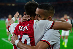 13-08-2019 NED: UEFA Champions League AFC Ajax - Paok Saloniki, Amsterdam<br />  Ajax won 3-2 and they will meet APOEL in the battle for a group stage spot / Dusan Tadic #10 of Ajax scores 3-1, Hakim Ziyech #22 of Ajax