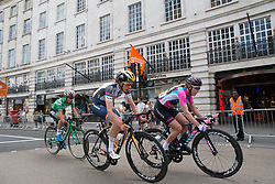 Christine Majerus (LUX) of Boels-Dolmans Cycling Team and Alice Barnes (GBR) of CANYON//SRAM Racing ride in the break during Stage 5 of the OVO Energy Women's Tour - a 62 km road race, starting and finishing in London on June 11, 2017, in London, United Kingdom. (Photo by Balint Hamvas/Velofocus.com)
