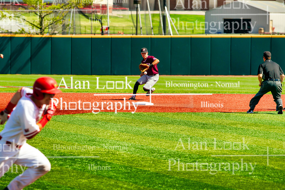 20 May 2019:  Nikola Vasic fields a ball just behind 2nd base with Tim Winningham monitoring. Missouri Valley Conference Baseball Tournament - Southern Illinois Salukis v Illinois State Redbirds at Duffy Bass Field in Normal IL<br /> <br /> #MVCSPORTS