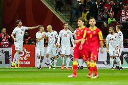 October 8, 2017 - Warsaw, Poland - Krzysztof Maczynski (POL) celebrates after he scored a goal   during Poland and Montenegro World Cup 2018 qualifier match in Warsaw, Poland, on 8 October 2017. POLAND won 4-2 and take on their World Cup 2018 qualifier. (Credit Image: © Foto Olimpik/NurPhoto via ZUMA Press)