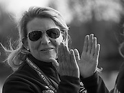 London, Great Britain, OUWBC, Head Coach, Christine WILSON, applauds,  after OUWBC won the Newton Women's Boat Race.  the Newton Women's Boat Race.  Newton Women's Boat race and the reserve races Mortlake. ENGLAND. <br /> <br /> 17:25:22  Saturday  11/04/2015<br /> <br /> [Mandatory Credit; Intersport-images]