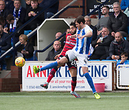 23rd September 2017, Rugby Park, Kilmarnock, Scotland; SPFL Premiership football, Kilmarnock versus Dundee; Goalscorers in the 1-1 draw at Rugby Park Dundee's Faissal El Bakhtaoui and Kilmarnock's Gordon Greer battle for the ball