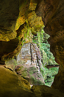 Rock House, eroded out of the middle zone of Blackhand sandstone. Rock House is the only true cave in Hocking Hills State Park, Ohio