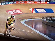 Cyclist on the track at the National cycling centre for the National Track Championships in Manchester with Ioan Said Photography
