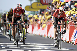 July 15, 2018 - Amiens Metropole, FRANCE - Belgian Jelle Vanendert of Lotto-Soudal and German Marcel Sieberg of Lotto-Soudal pictured during the arrival of the eighth stage of the 105th edition of the Tour de France cycling race, from Arras Citadelle to Roubaix (156,5 km), in France, Sunday 15 July 2018. This year's Tour de France takes place from July 7th to July 29th. BELGA PHOTO YORICK JANSENS (Credit Image: © Yorick Jansens/Belga via ZUMA Press)
