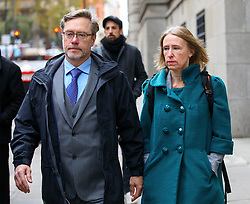"© Licensed to London News Pictures. 17/11/2016. London, UK. Parents of Jack Letts, dubbed ""Jihadi Jack"", John Letts (L) and Sally Lane (R) arrive at The Central Criminal Court for a plea hearing for attempting to provide money knowing it may be used to fund terrorism on 17 November 2016. Photo credit: Tolga Akmen/LNP"