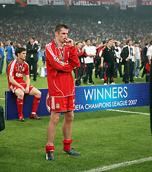 Athens, Greece - Wednesday, May 23, 2007: Liverpool's Jamie Carragher looks dejected after losing 2-1 to AC Milan during the UEFA Champions League Final at the OACA Spyro Louis Olympic Stadium. (Pic by David Rawcliffe/Propaganda)