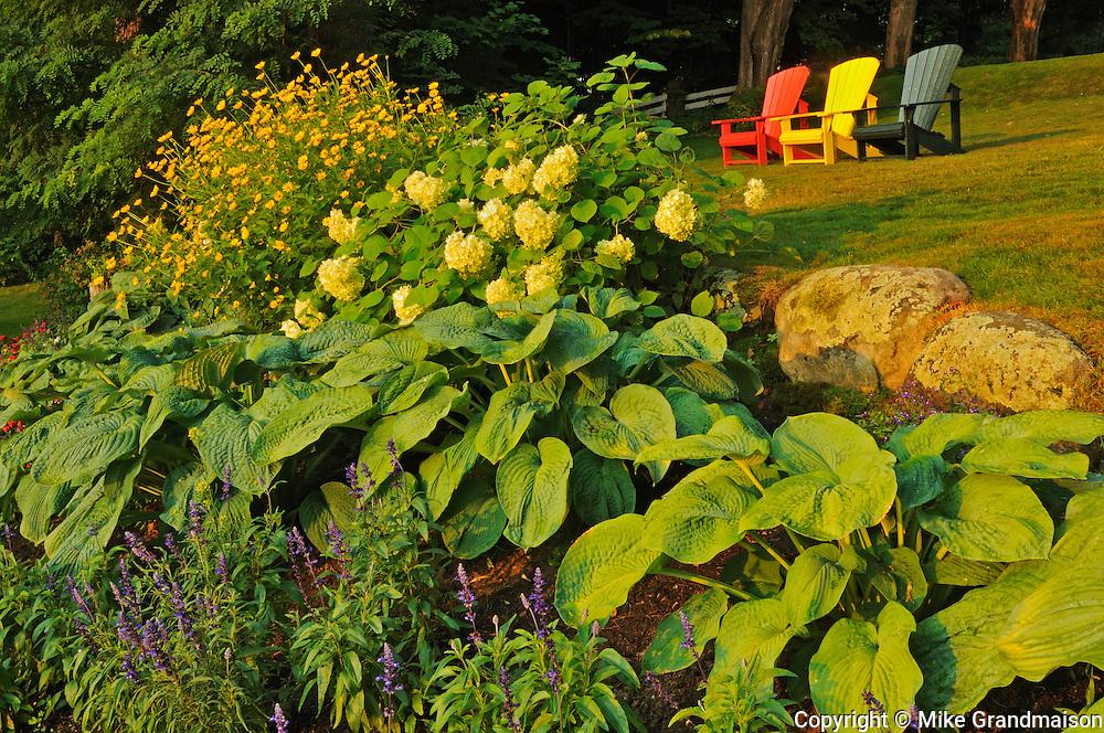 Muskoka chairs and garden<br /> Minett<br /> Ontario<br /> Canada