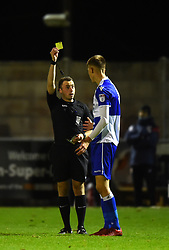 Ben Morgan of Bristol Rovers is shown a yellow card by the referee - Mandatory by-line: Paul Knight/JMP - 16/11/2017 - FOOTBALL - Woodspring Stadium - Weston-super-Mare, England - Bristol City U23 v Bristol Rovers U23 - Central League Cup