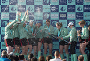 Mortlake/Chiswick, GREATER LONDON. United Kingdom. 2017 Women's Boat Race winners CUWBC, celebrate, winning the raceThe Championship Course, Putney to Mortlake on the River Thames.<br /> <br /> Crew:Bow: Ashton Brown &ndash; CAN/AUS, 2: Imogen Grant, 3: Claire Lambe &ndash; IRL, 4: Anna Dawson, 5: Holly Hill, 6: Alice White, 7: Myriam Goudet &ndash; FRA, Stroke: Melissa Wilson and Cox: Matthew Holland Coach, Rob BAKER<br /> <br /> <br /> Sunday  02/04/2017<br /> <br /> [Mandatory Credit; Peter SPURRIER/Intersport Images]