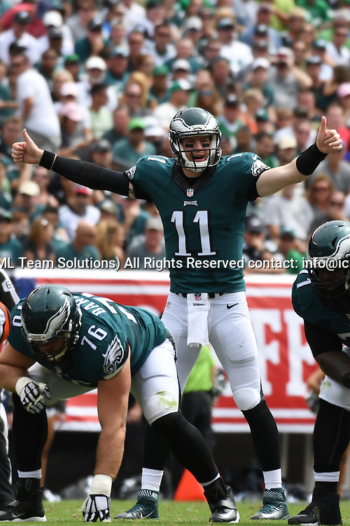 September 11, 2016: Philadelphia Eagles quarterback Carson Wentz (11) signals a play during a National  Football League game between the Cleveland Browns and the Philadelphia Eagles at Lincoln Financial Field in Philadelphia, PA. (Photo by Andy Lewis/Icon Sportswire)