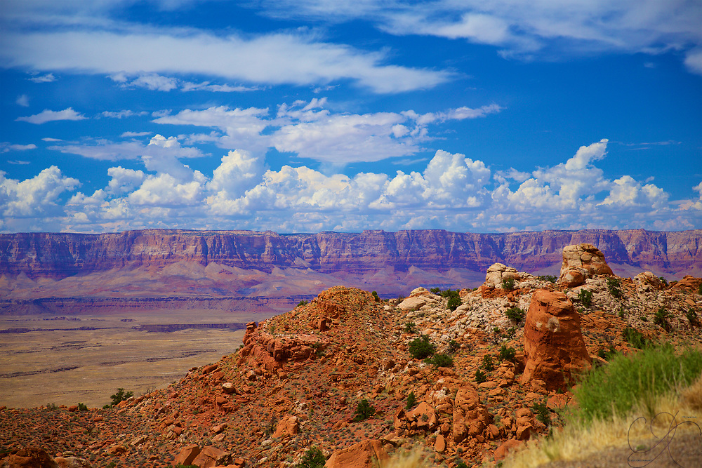 """Much as the Hudson River valley school of artists took inspiration from their surroundings in the iconic stretch of the Hudson in upstate New York, the grand and expansive vistas of the great Southwest continue to inspire many. Looking towards the Northeast """"entrance"""" into the Grand Canyon over Marble Canyon with the mighty Colorado river cutting deep into the desert floor."""