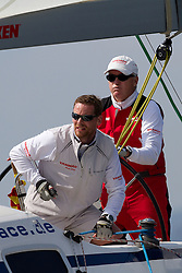 Peter Gilmour feeling the pressure during his quarter final match against Torvar Mirsky. Match Race Germany 2010. World Match Racing Tour. Langenargen, Germany. 23 May 2010. Photo: Gareth Cooke/Subzero Images/WMRT