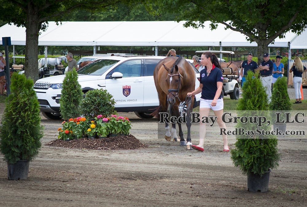 U.S. Eventing Team member, Lauren Kieffer presents Meadowbrook's Scarlet to the ground jury during Horse Inspection at the 2016 Land Rover Great Meadow International on Friday, July 8, 2016, at the Great Meadow Foundation in The Plains, VA with a 2016 Discovery Sport in the background.