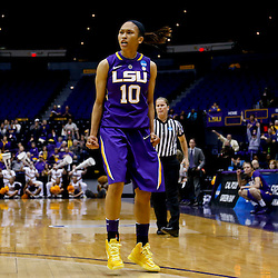 Mar 26, 2013; Baton Rouge, LA, USA; LSU Tigers guard Adrienne Webb (10) reacts in the first half against the Penn State Lady Lions during the second round of the 2013 NCAA womens basketball tournament at Pete Maravich Assembly Center. Mandatory Credit: Derick E. Hingle-USA TODAY Sports