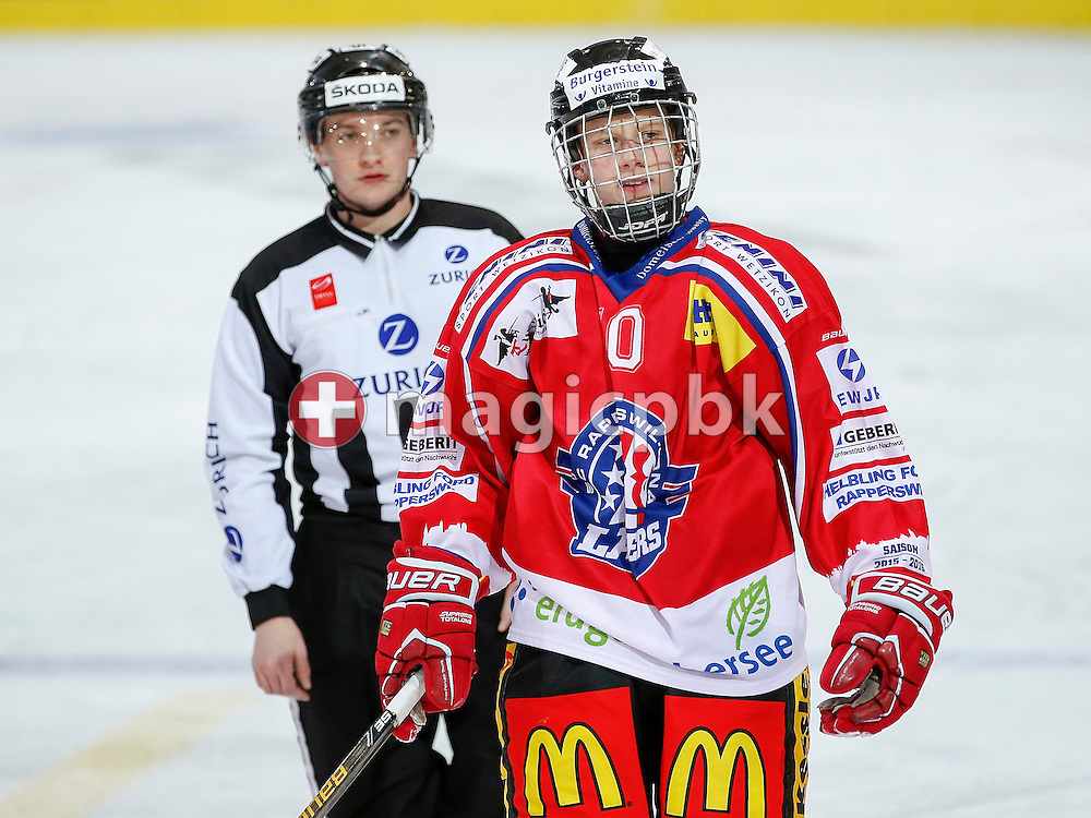 Rapperswil-Jona Lakers defenseman Kilian LIECHTI is pictured during a Novizen Elite ice hockey game between Rapperswil-Jona Lakers and SC Bern Future held at the Diners Club Arena in Rapperswil, Switzerland, Saturday, Feb. 6, 2016. (Photo by Patrick B. Kraemer / MAGICPBK)