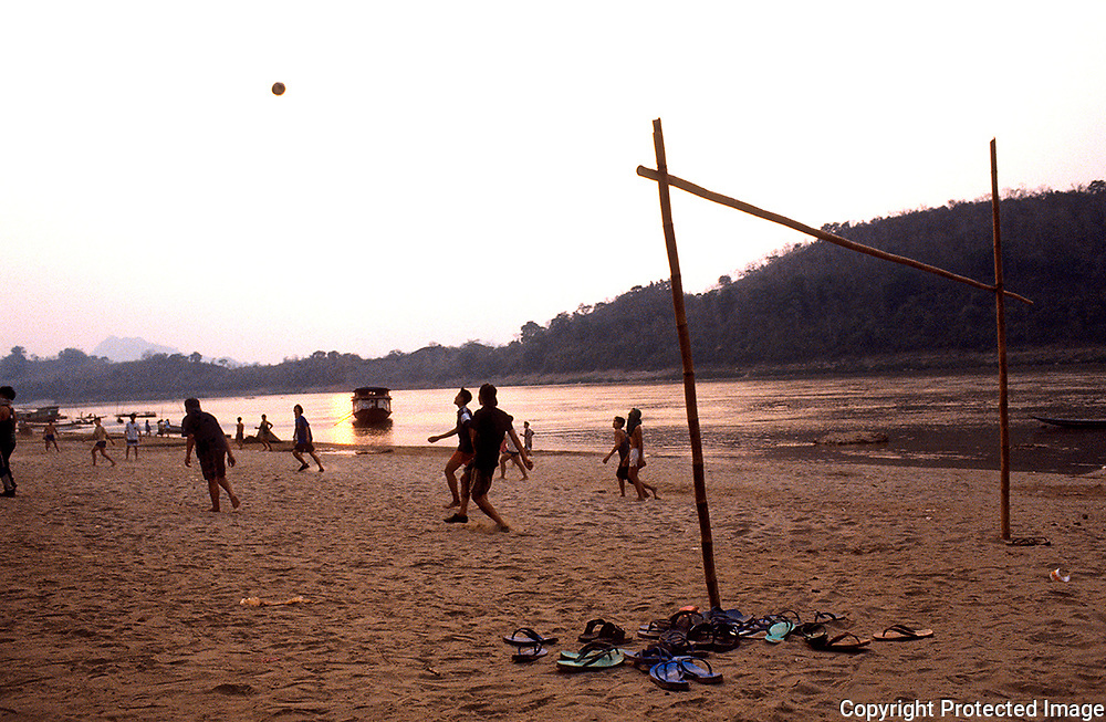 Soccer at Meckong riverside .Luang Prabang. Laos.