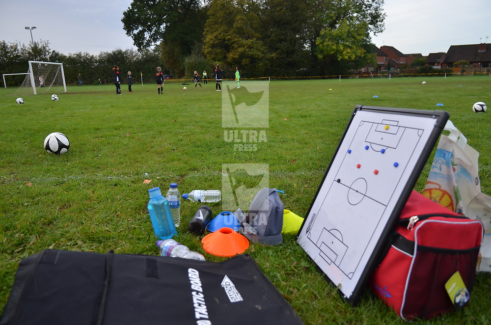 TELFORD COPYRIGHT MIKE SHERIDAN A general view of tactics board and various accessories at Idsall Sports Centre on Saturday, October 12, 2019.<br /> <br /> Picture credit: Mike Sheridan/Ultrapress<br /> <br /> MS201920-026