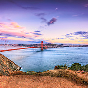 Sunset view of the Golden Gate Bridge taken from the Marin Headlands.